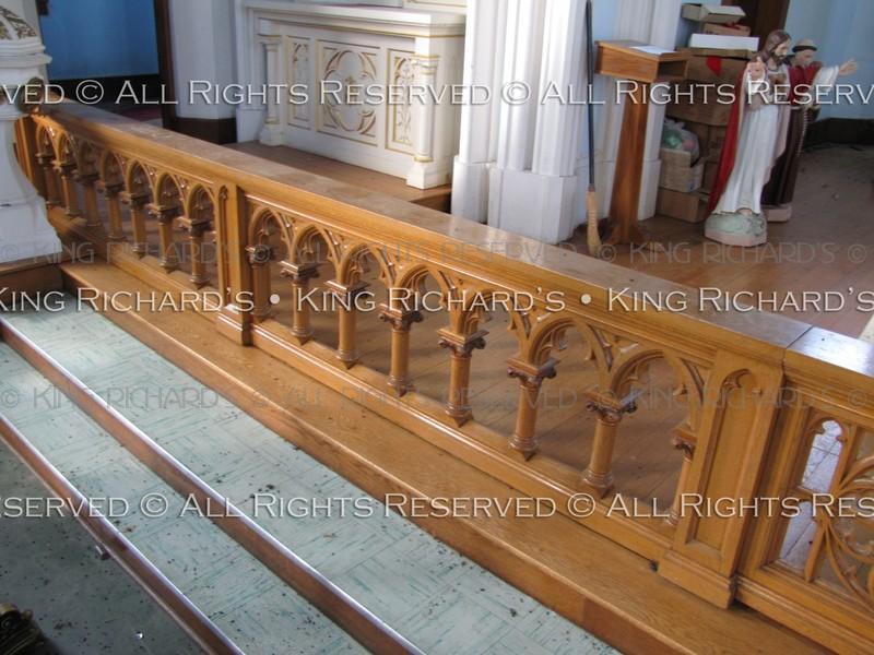 Very Fine Hand Carved Gothic Oak Altar Railing With Gates