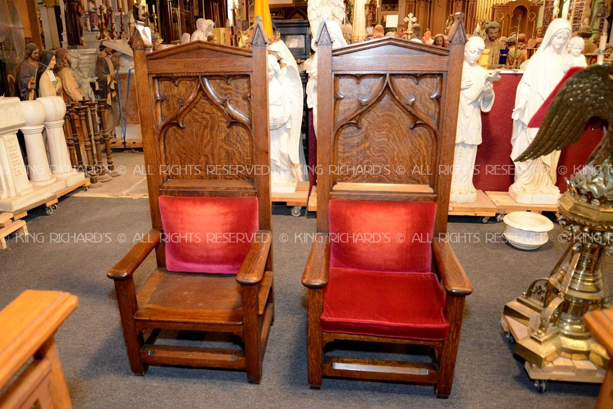 Vintage Pair of Gothic Altar Chairs - Altar-Chairs-Antique - Vintage Pair Of Gothic Altar Chairs